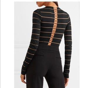 Grace lace-up striped stretch  thong bodysuit